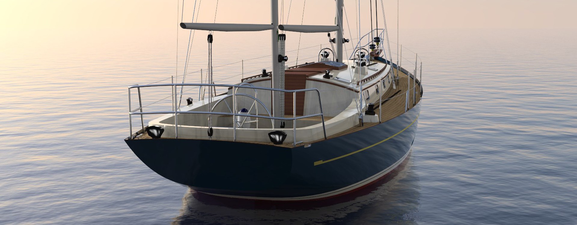 Selena 44, modern classic ketch, traditional refinement aft view