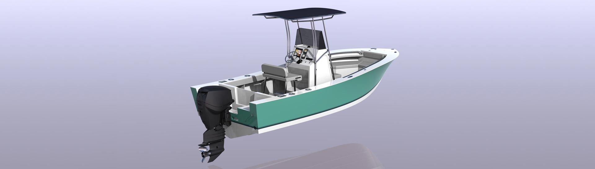 Open deck fishing skiff, power boat, bay boat, flats boat